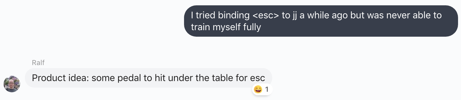 "Informal ""water cooler"" chat about vim key bindings"